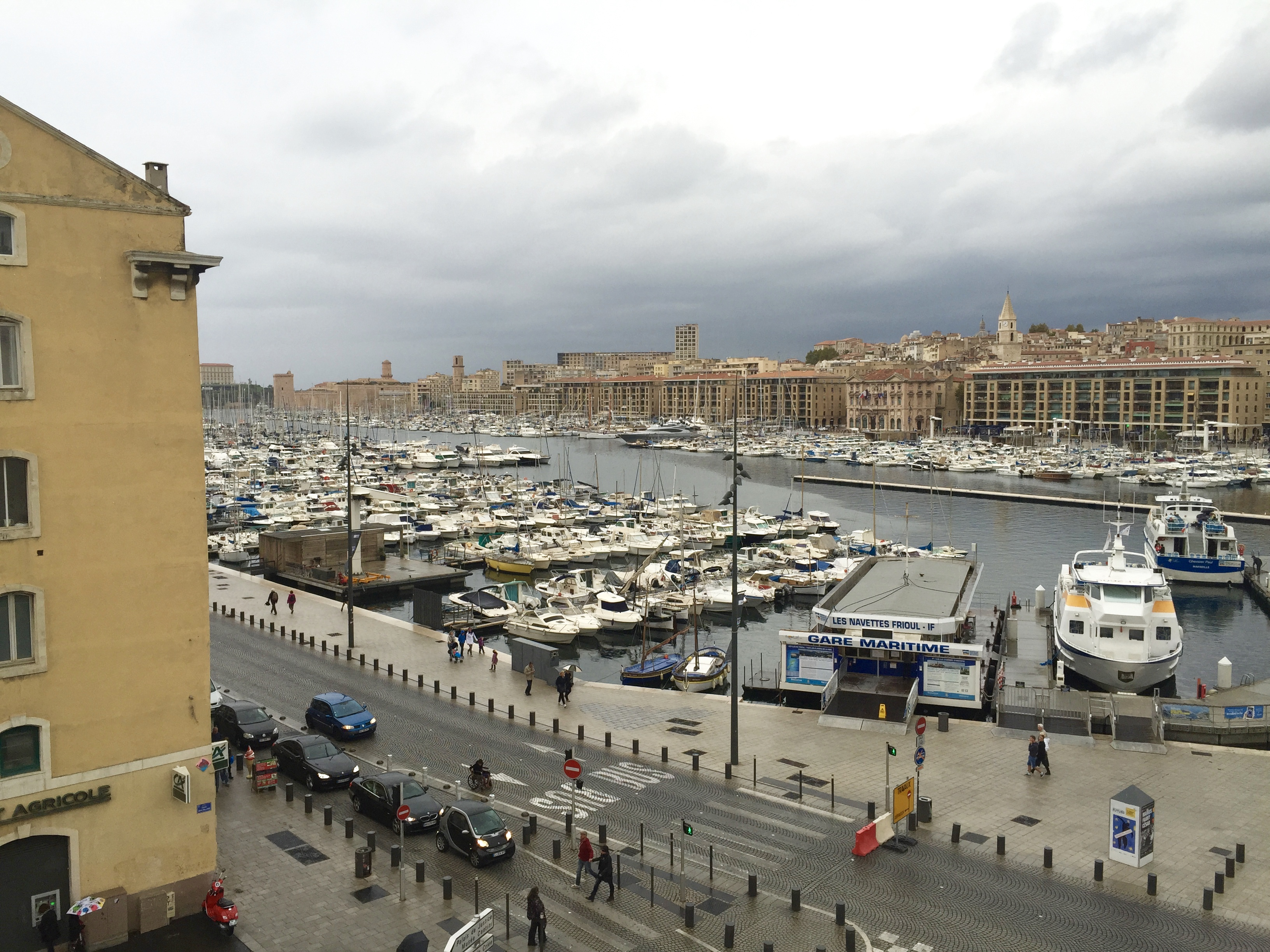 The view from our Airbnb of Vieux Port in Marseille, France