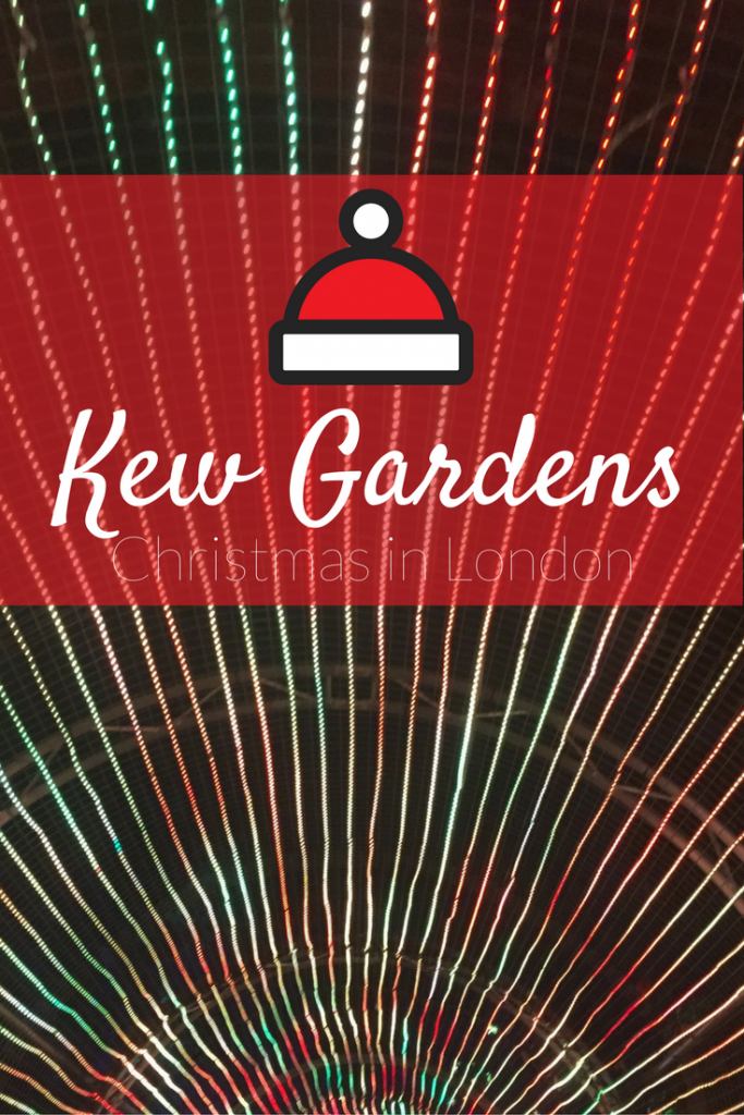 Christmas in London - Add Kew Gardens to your Christmas Bucket List. This garden experience includes light shows, Christmas treats, and plenty of Christmas spirit!