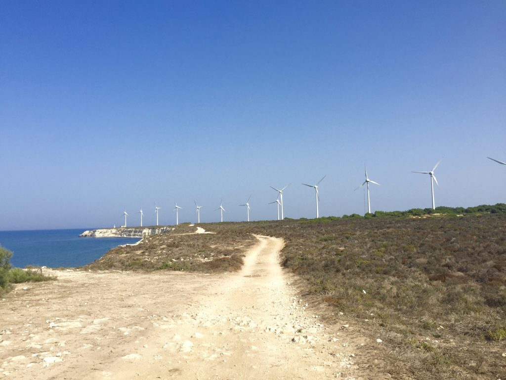 The wind farm in Bozcaada, Turkey
