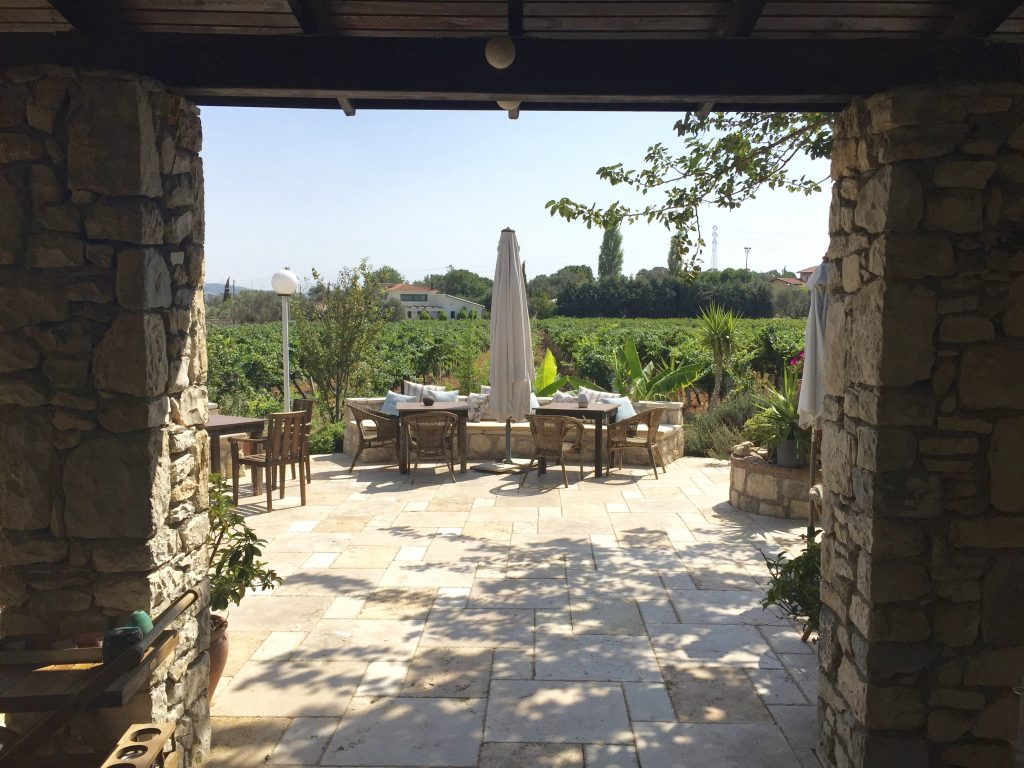 View of garden and vineyards at Urlice Winery in the Turkish wine region of Urla