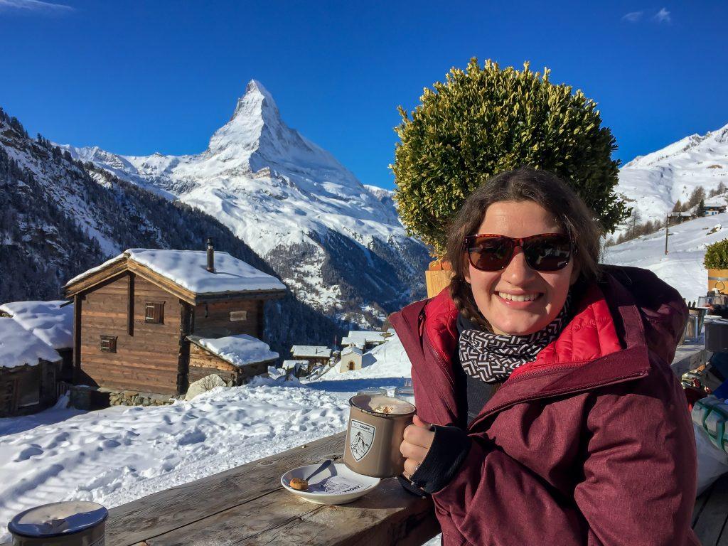 Skiing in Zermatt - Hot Chocolate break at Chez Vrony
