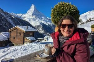 Skiing in Zermatt - Hot Chocolate break at Chez Vrony